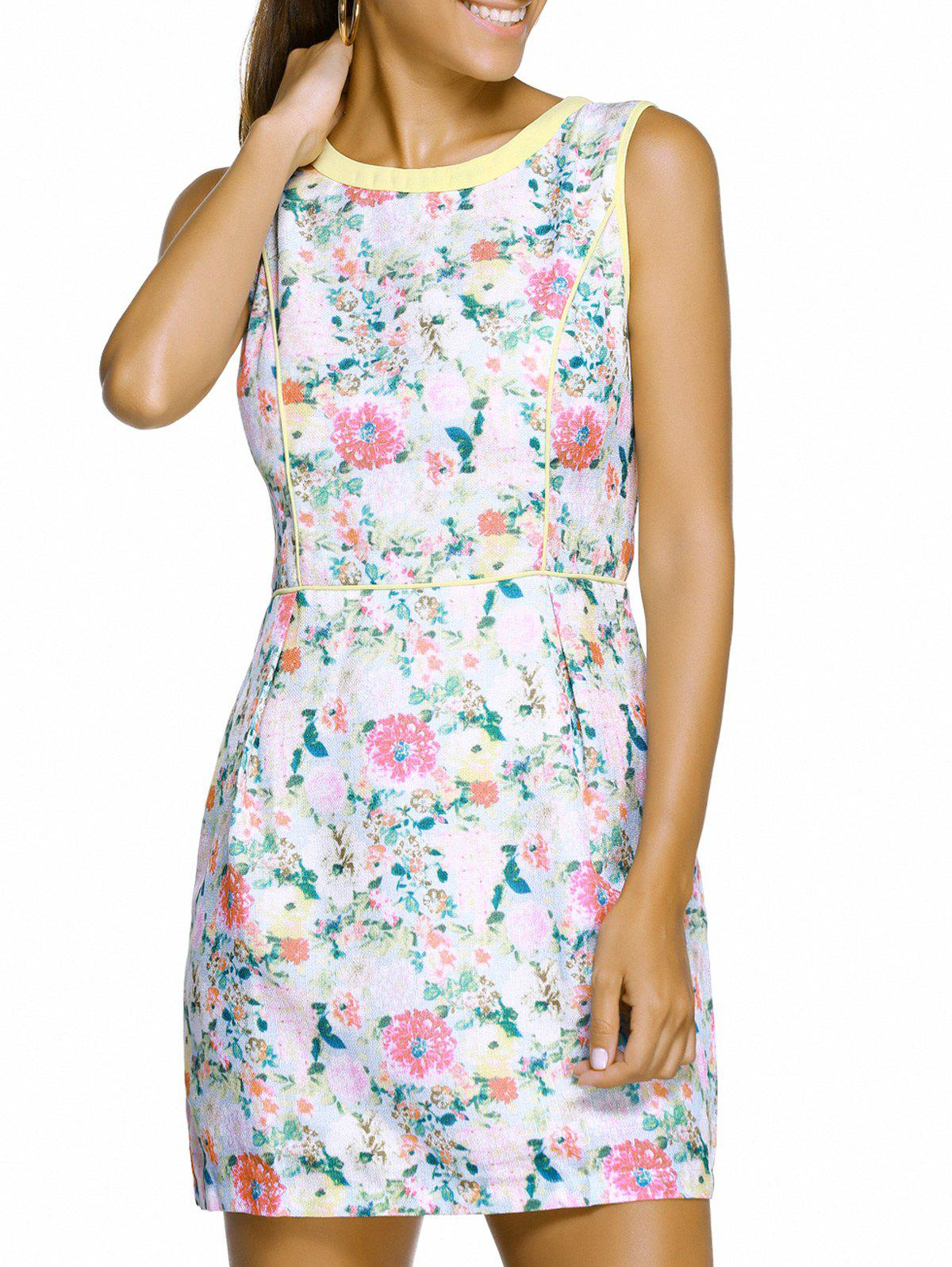 Chic Sleeveless Round Neck Spliced Slimming Floral Print Women's Dress - WHITE M