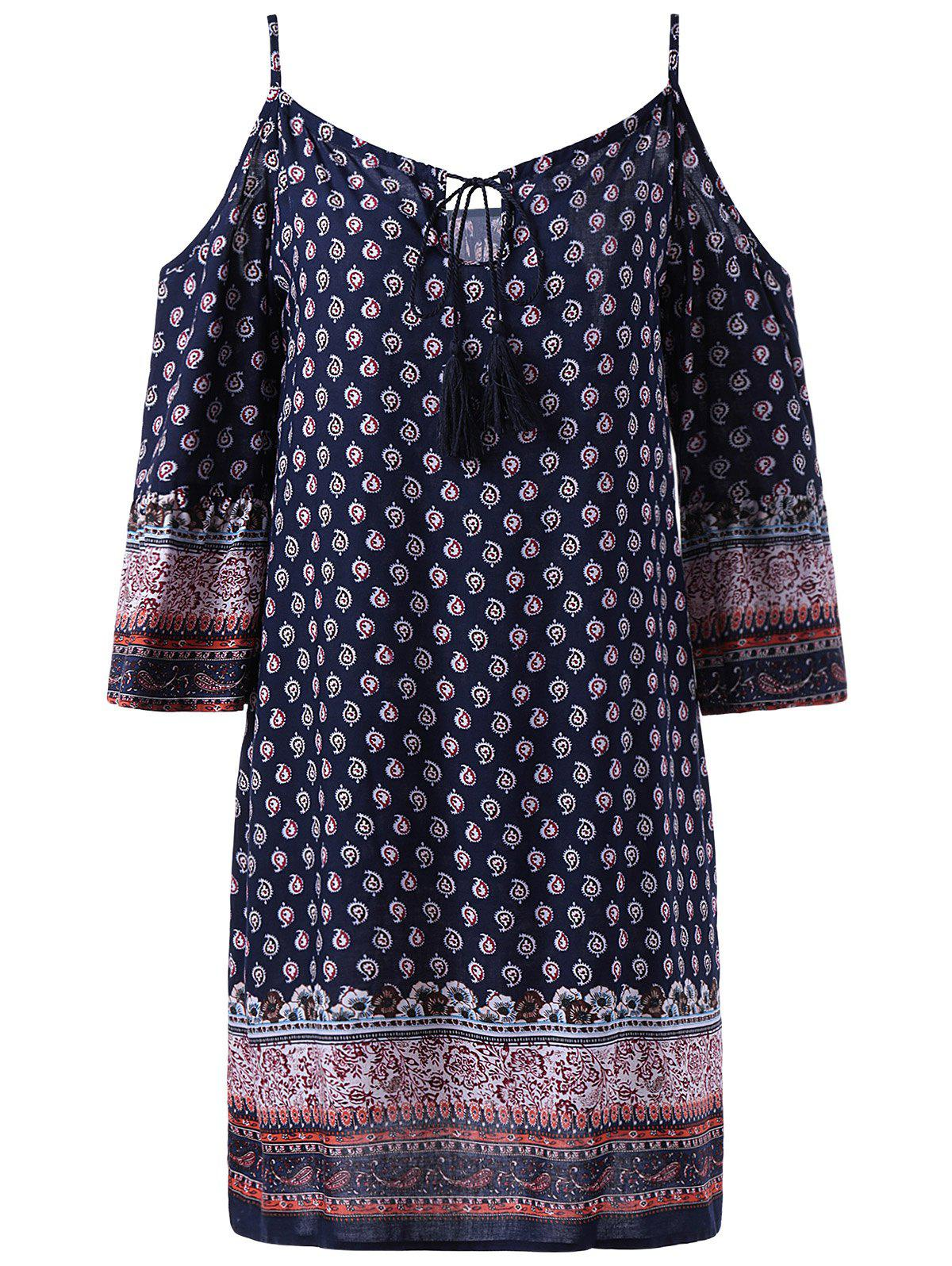 Fashionable Women's Spaghetti Strap 3/4 Sleeve Straight Print Dress