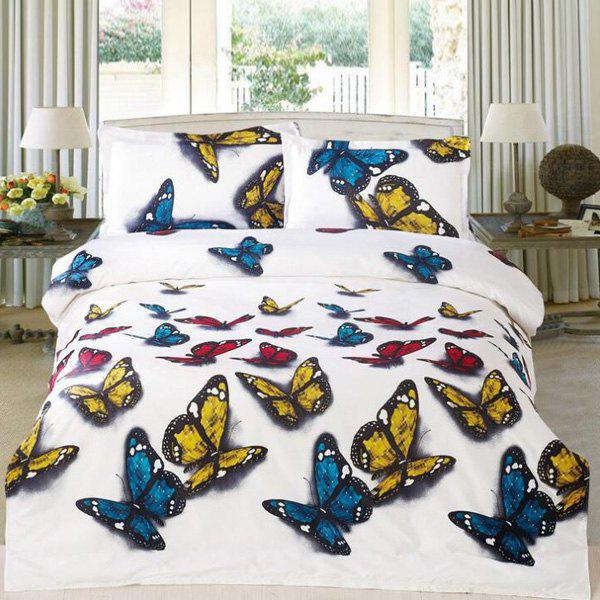 Sweet 3D Butterflies Pattern Reactive Print Duvet Cover 4PCS Bedding Set - WHITE FULL