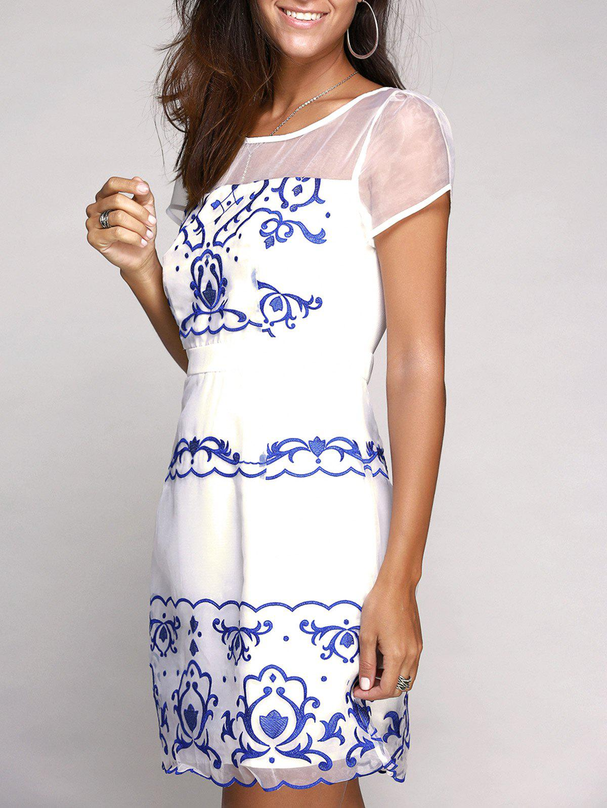 Charming Short Sleeve Round Neck Embroidery Voile Spliced Women's Dress