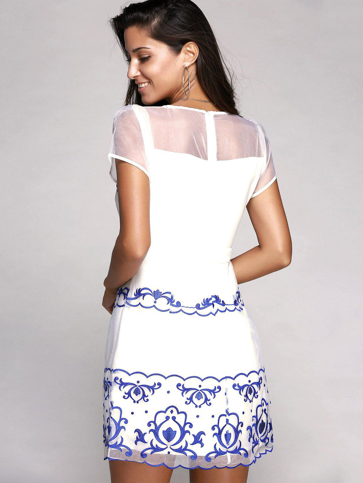 Charming Short Sleeve Round Neck Embroidery Voile Spliced Women's Dress - WHITE XL