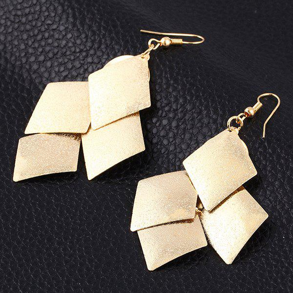 Pair of Punk Geometric Drop Earrings - GOLDEN