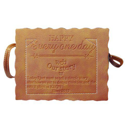 Stylish Solid Colour and Letter Design Women's Crossbody Bag - LIGHT BROWN