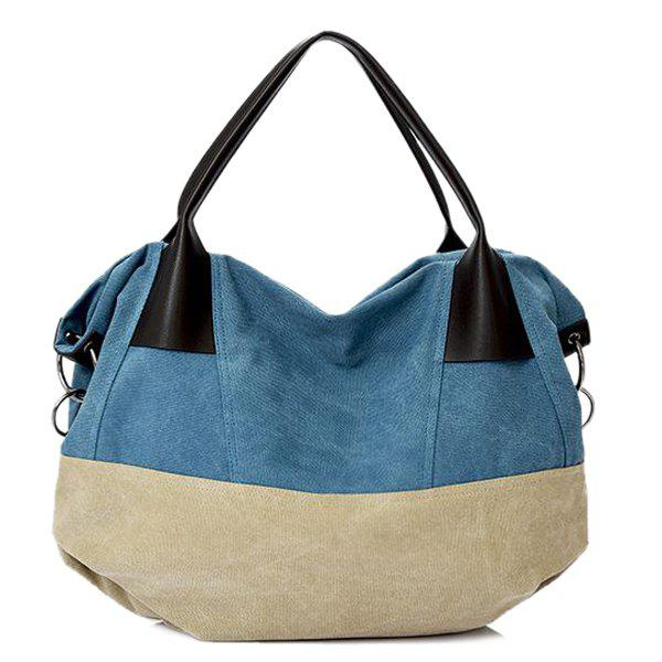 Casual Canvas and Color Block Design Women's Tote Bag - BLUE/WHITE
