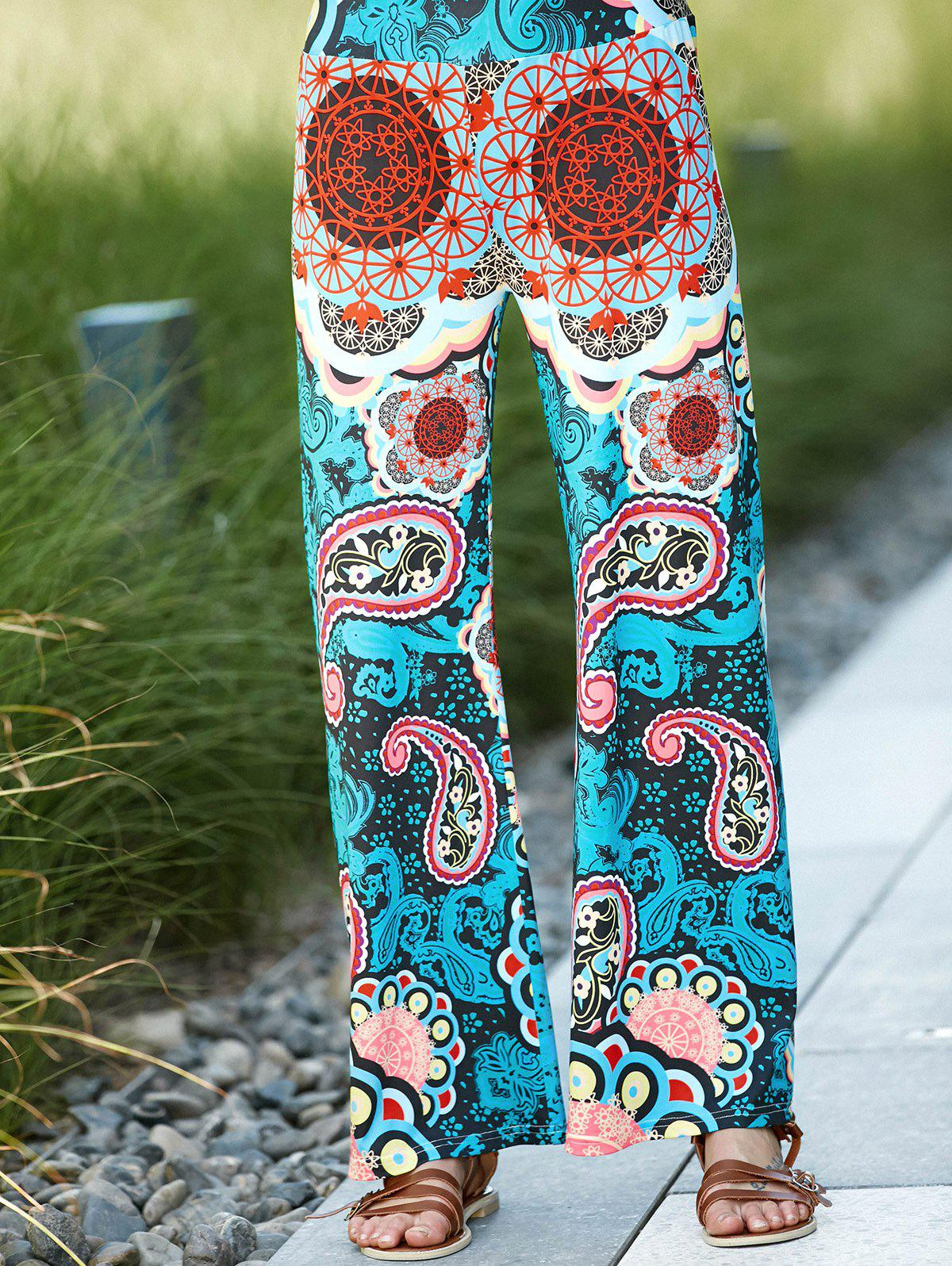 Chic High Waist Colorful Print Wide-Leg Pants For Women - COLORMIX M