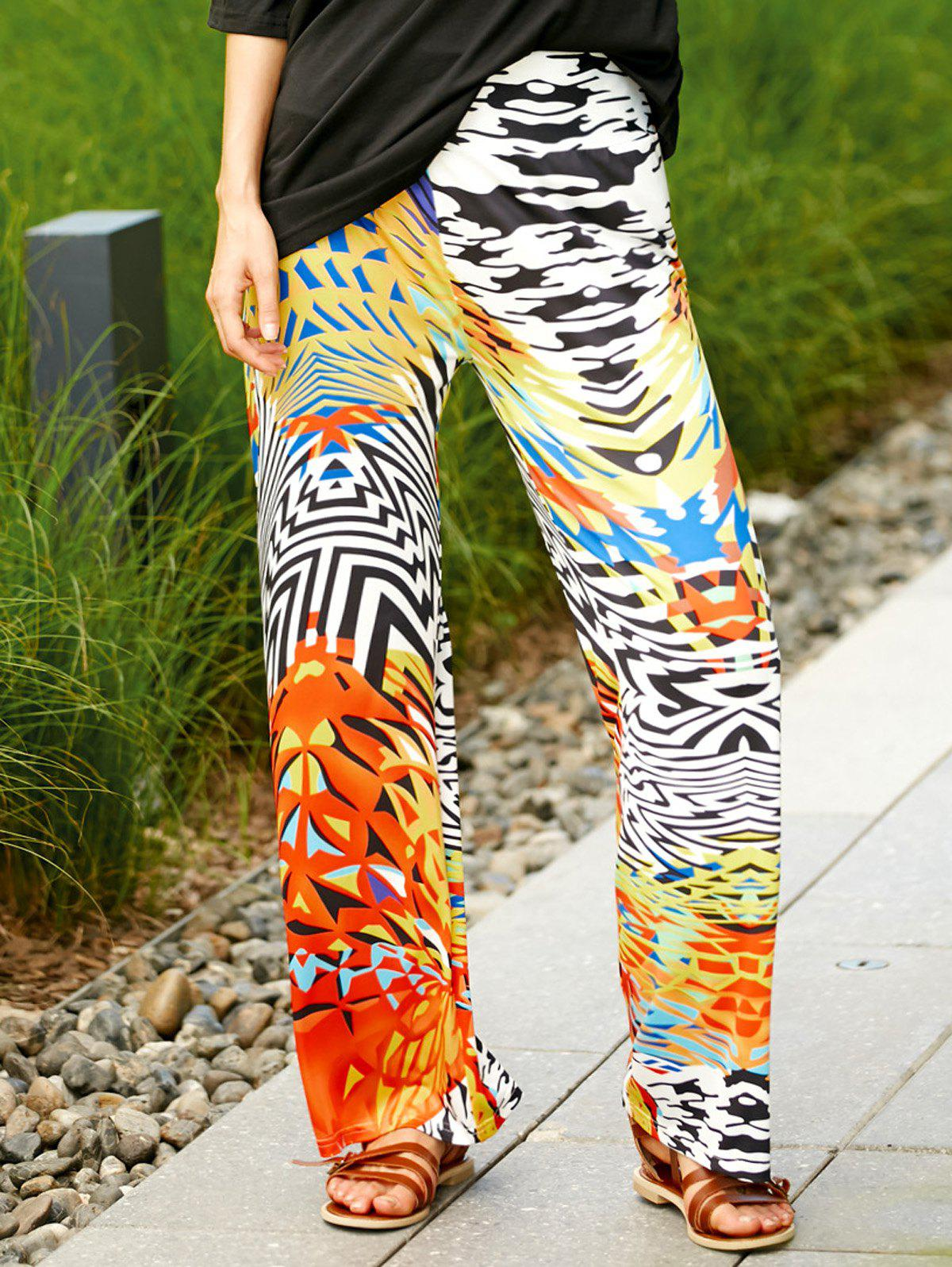 Stylish Colorful Ethnic Print Wide Leg Pants For Women - COLORMIX L