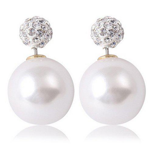 Pair of Graceful Rhinestone Ball Beads Earrings For Women - WHITE