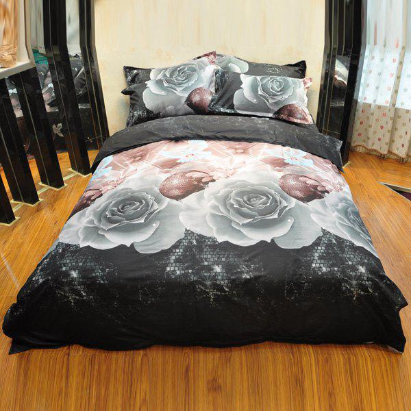 Stylish Gray Color 3D Rose Bird Reactive Print Duvet Cover 4PCS Bedding Set - SMOKY GRAY FULL