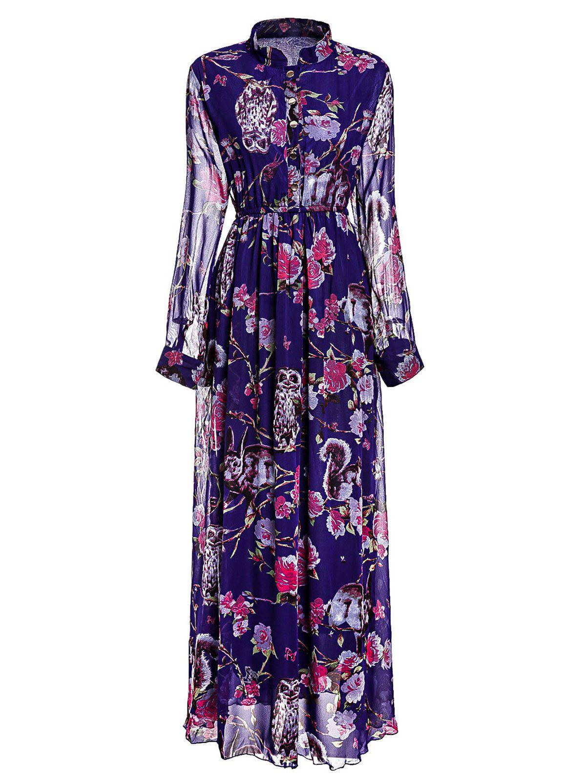 Graceful Floral Printed Stand Collar Layered Pleated Maxi Chiffon Dress For Women - PURPLE M