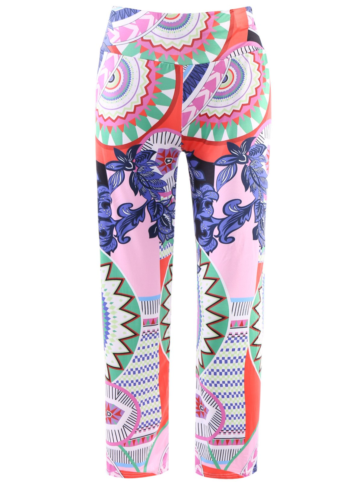 Fashionable Elastic Waist Loose-Fitting Printed Women's Exumas Pants - COLORMIX L