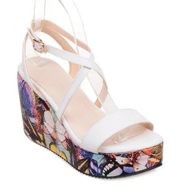 Trendy Print and Wedge Heel Design Women's Sandals - WHITE 39