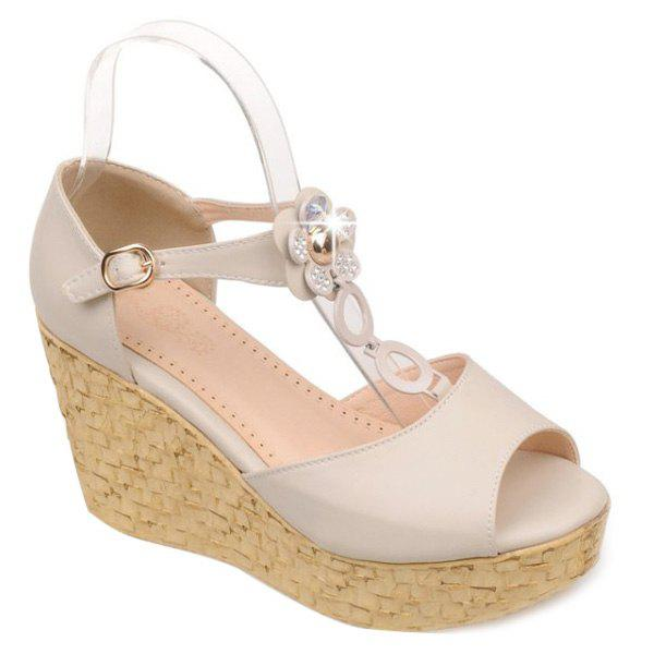 Elegant T-Strap and Wedge Heel Design Women's Sandals