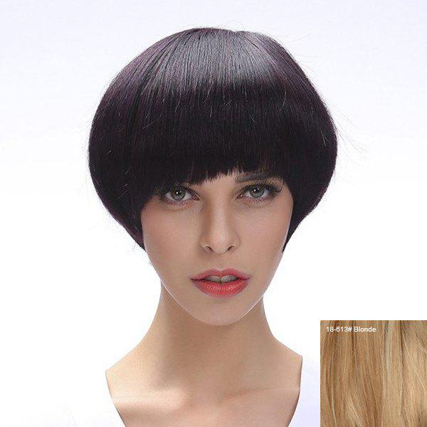 Vogue Straight Human Hair Mushroom Hairstyle Full Bang Women's Capless Wig - BLONDE
