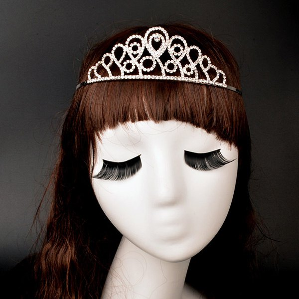 Noble Rhinestoned Round Crown For Women - SILVER