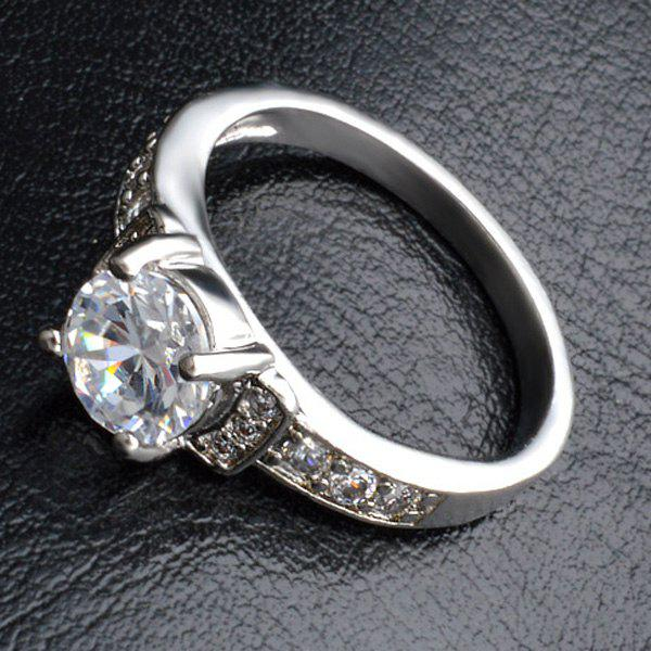 Rhinestone Sliver Plated Ring - SILVER ONE-SIZE