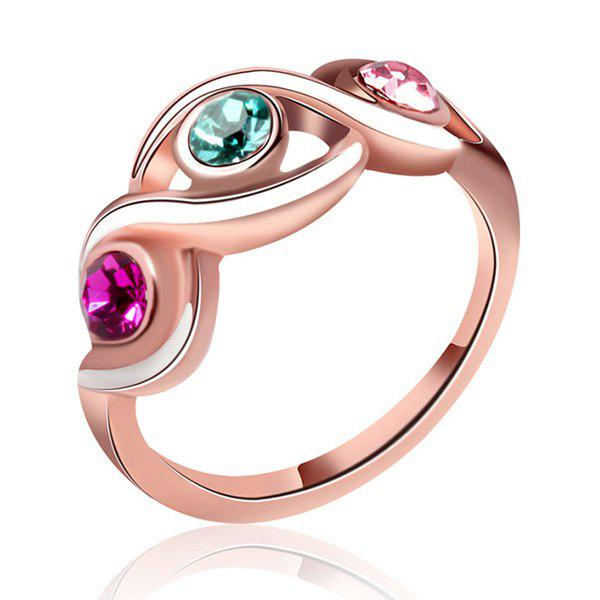Hollow Out Alloy Rhinestone Ring - GOLDEN ONE-SIZE