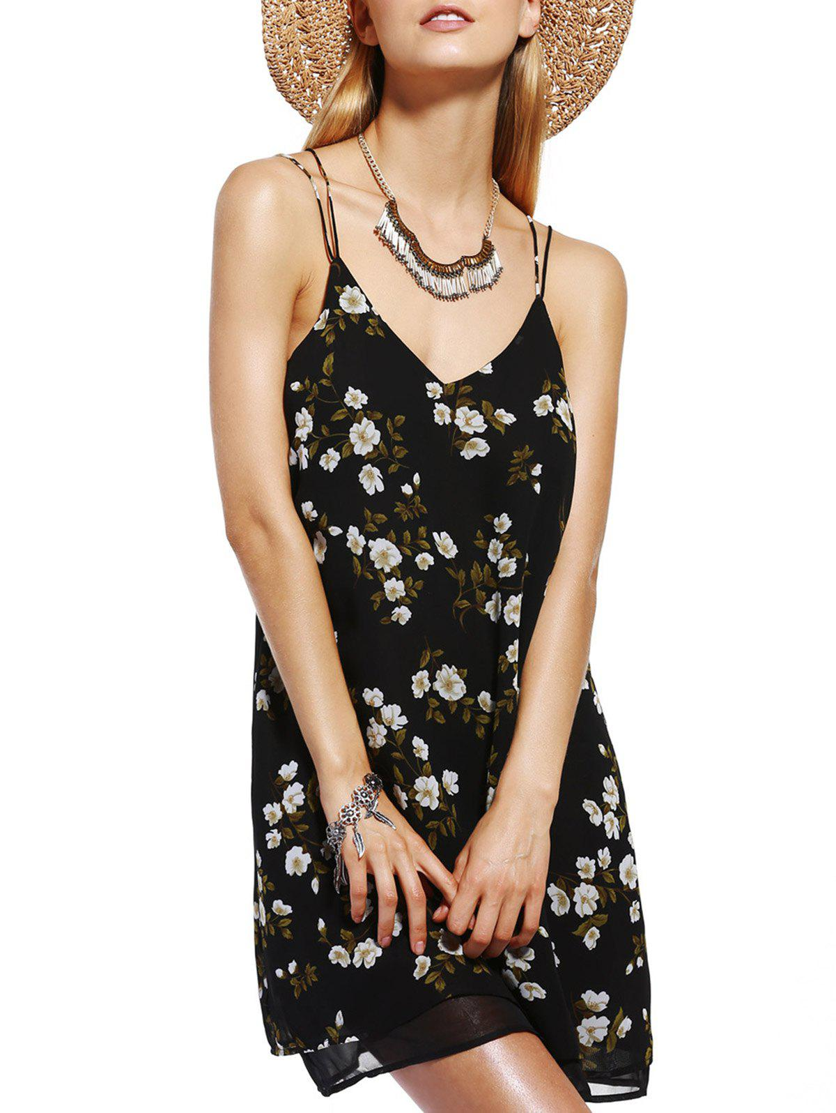 Chic Women's V-Neck Spaghetti Strap Tropical Print Dress - BLACK L