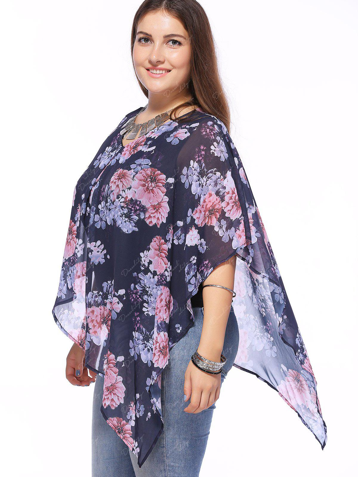 Stylish V-Neck Batwing Sleeve Floral Print Asymmetric Blouse For Women - VIOLET XL