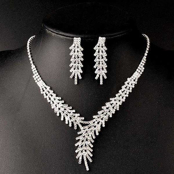 A Suit of Rhinestone Wedding Jewelry Set - SILVER