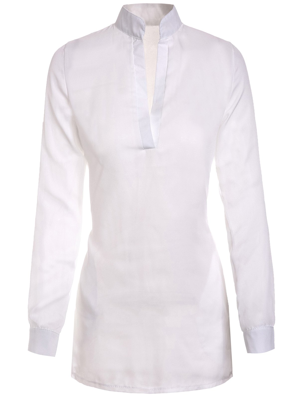 Stylish Plunging Collar Long Sleeve Solid Color Women's Blouse - WHITE XL