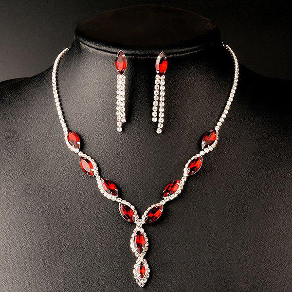 Faux Ruby Rhinestoned Wedding Jewelry Set - RED