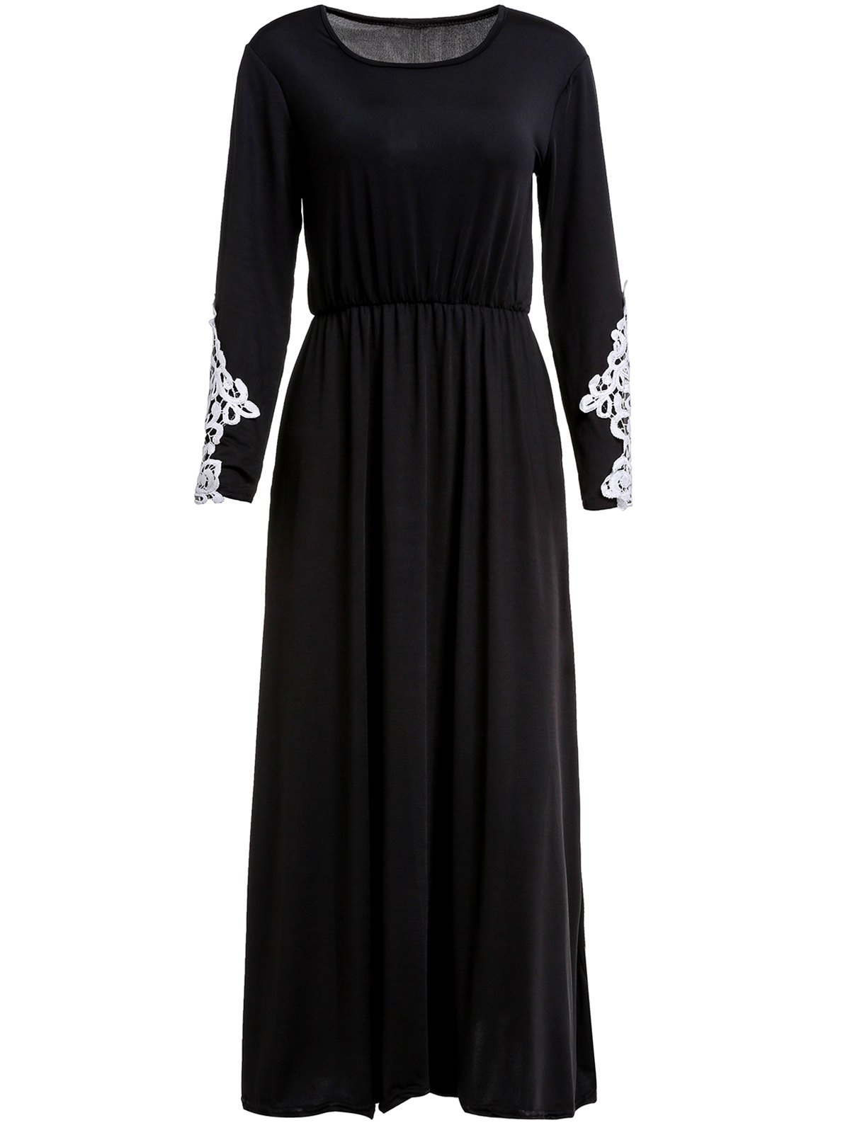 Stylish Long Sleeve Scoop Collar Appliques Design Women's Maxi Dress - BLACK M