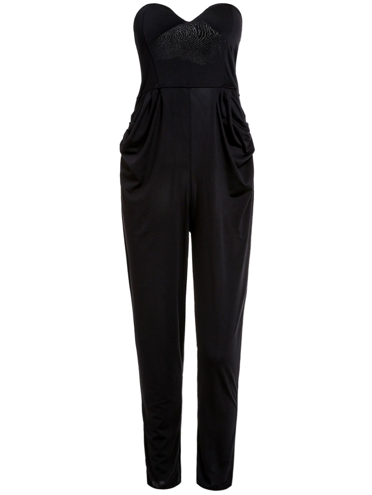 Stylish Strapless Sleeveless Solid Color Pocket Design Women's Jumpsuit - BLACK M
