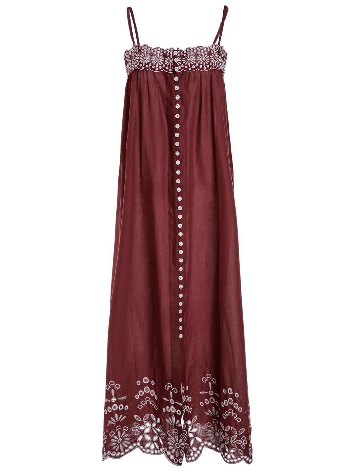 Ethnic Style Spaghetti Strap Sleeveless Embroidered Women's Dress - WINE RED L