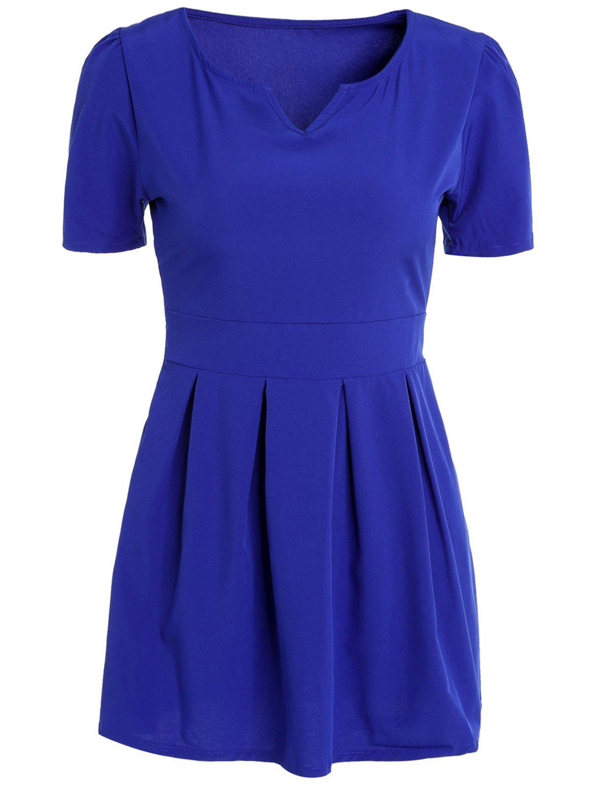 Chic Solid Color V-Neck Short Sleeve High Waist Pleated Mini Ball Dress For Women - SAPPHIRE BLUE S