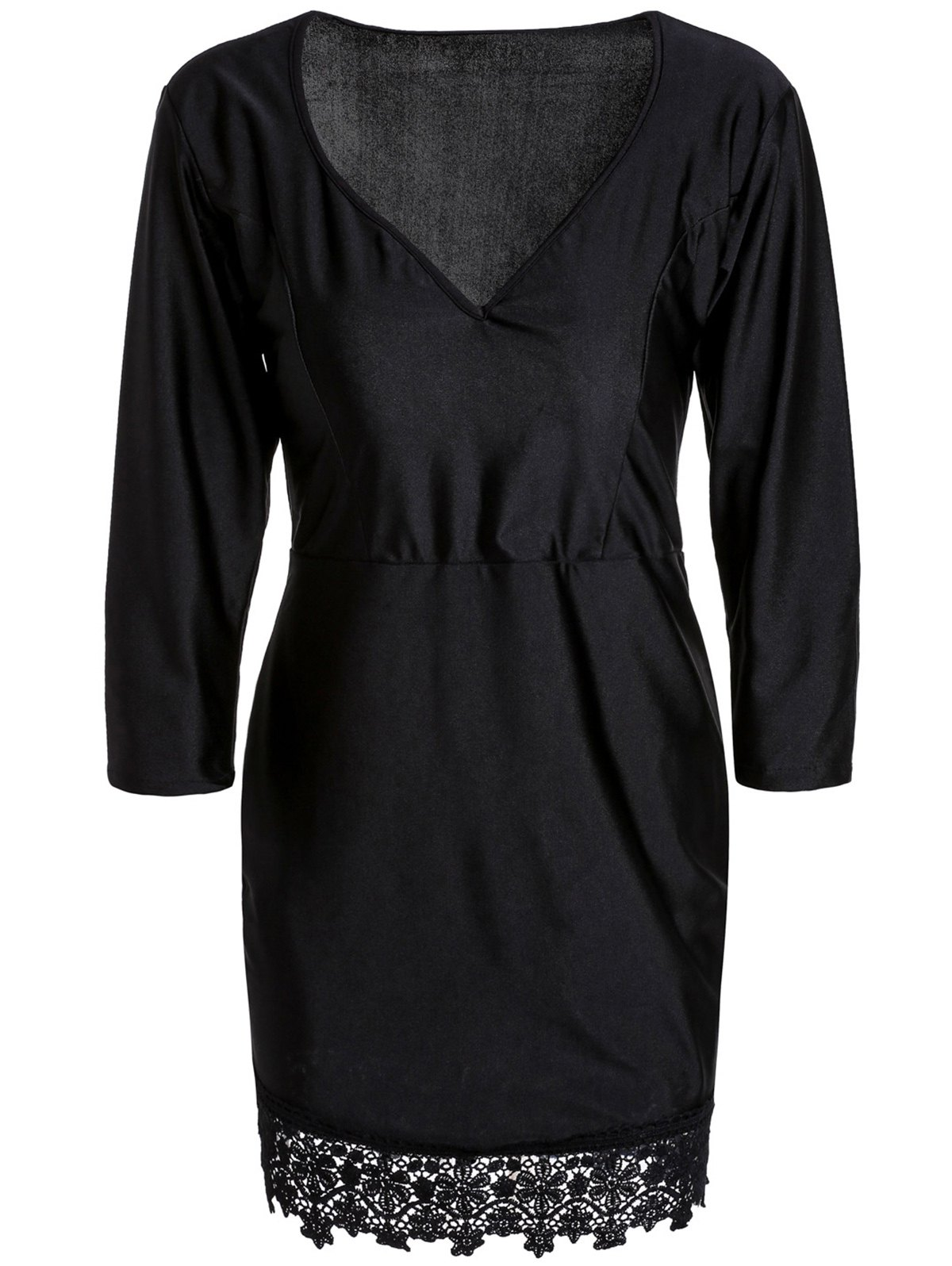 Trendy Plunging Neck Black 3/4 Sleeve Lace Hem Bodycon Dress For Women - BLACK S