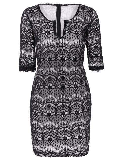 Fashionable 3/4 Sleeve Plunging Neckline Lace Dress For Women - BLACK S