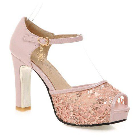 Splicing Ladylike et talon Chunky design femme s  'Peep Toe Shoes - Rose Léger 39