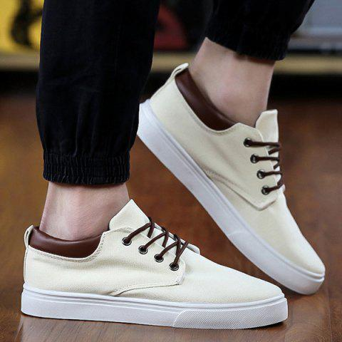 Simple  Solid Color and Lace-Up Design Men's Canvas Shoes - OFF WHITE 42