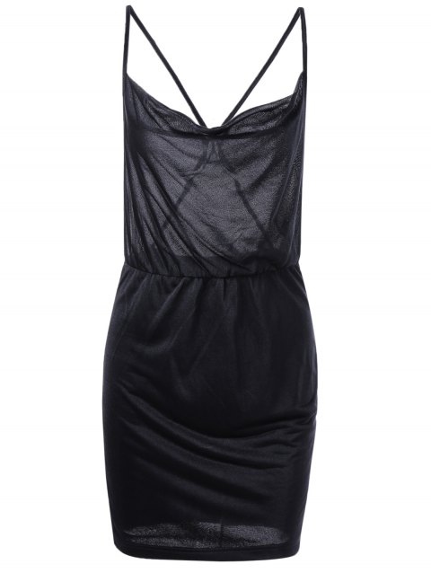 Fashionable Women's Fitted Spaghetti Strap Backless Dress - BLACK S