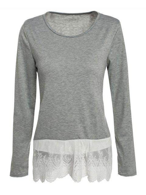 Stylish Women's Scoop Neck Long Sleeve Loose-Fitting Lace Splicing T-Shirt - GRAY XL