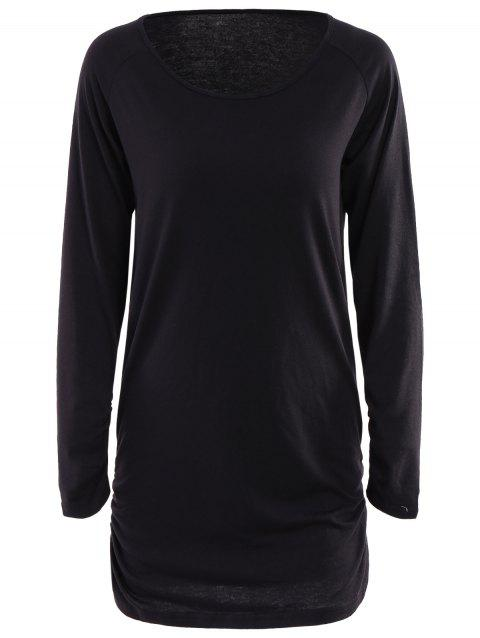 Chic Scoop Collar Long Sleeves Ruffled Pure Color Women's T-Shirt - BLACK L