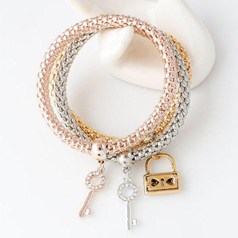 Rhinestone Cut Out Key And Lock Bracelets Rose Gold