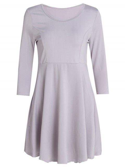 Women's Chic 3/4 Sleeve Scoop Neck Pure Color A-Line Dress - GRAY L
