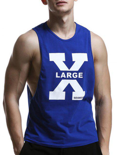 X Letter Print Round Neck Graphic Tank Top - SAPPHIRE BLUE M