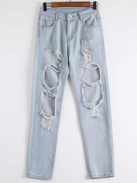 Stylish Hole Design Mid-Waisted Women's Jeans - BLUE L