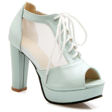 Sweet Lace-Up and Splicing Design Women's Peep Toe Shoes - LIGHT BLUE 39