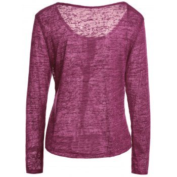Pullover Long Sleeve Scoop Neck Solid Color Blouse For Women - WINE RED 2XL