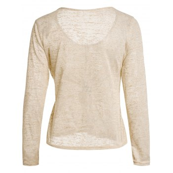 Pullover Long Sleeve Scoop Neck Solid Color Blouse For Women - BEIGE M