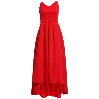 Vintage Red Strapless High Waist Pleated Ball Gown Maxi Dress For Women