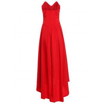 Vintage Red Strapless High Waist Pleated Ball Gown Maxi Dress For Women - RED L