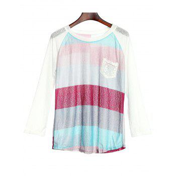 Stylish 3/4 Sleeve Scoop Neck Pocket Spliced Striped Women's T-Shirt