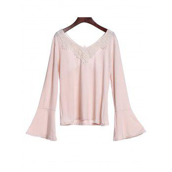 Stylish Scoop Neck Long Sleeve Butterfly Pattern Hollow Out Women's T-Shirt