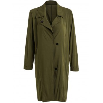 Stylish Solid Color Turn-Down Collar Buttoned Trench Coat For Women