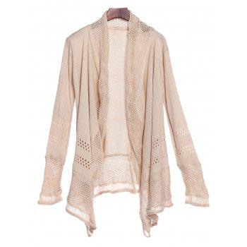 Chic Hollow Out Solid Color Irregular Cardigan For Women