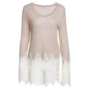 Lace Splicing Solid Color Long Sleeve Scoop Neck Pullover Sweater For Women